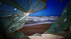 The sea from a shipwrecked boat's window Stock Footage