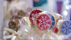 Merry Christmas cookies sold at retail shop, nice holiday presents for friends Stock Footage