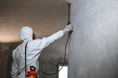 Man doing pest control on a wall - stock photo