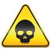 Hazard Warning Sign Skull - stock illustration
