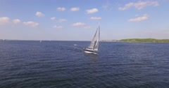 aerial view of a sailing boat on zhe baltic sea near kiel - stock footage