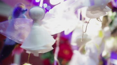 Beautiful handmade toy angel, nice decoration for Christmas tree, make a wish Stock Footage