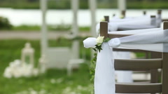 decorated wedding arch rustic style - stock footage