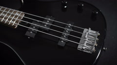 Electric Black Bass Guitar Stock Footage