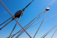Marine rope ladder at pirate ship Stock Photos