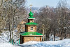 Chapel on  source of holy water in the city of Tutaev, Russia - stock photo