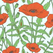 Elegant floral seamless pattern with poppy flowers Stock Illustration