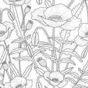 Elegant floral seamless pattern with poppy flowers - stock illustration
