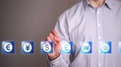 Businessman touch Dollar icons Stock Footage
