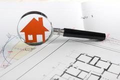 Model house, construction plan for house building, keys. Real Estate Concept Kuvituskuvat