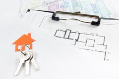 Model house, construction plan for house building, keys. Real Estate Concept - stock photo