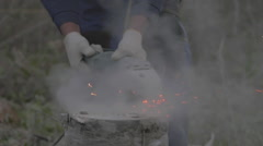 the man works with the Foundation on the construction site 120fps sparks - stock footage