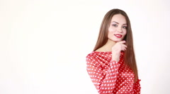Fashion retro girl. woman seductive moves. on a white background - stock footage
