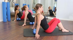 Aerobic Pilates personal trainer in a gym group - stock footage