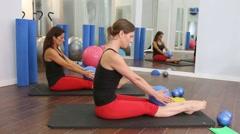 Aerobics pilates women with yoga balls fitness - stock footage