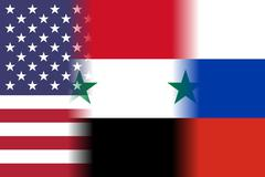 usa syria russia mixed flags - stock illustration