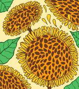 Colorful background with doodling hand drawn sunflowers Stock Illustration
