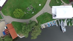 Aerial view wedding ceremony on the banks of the river Stock Footage