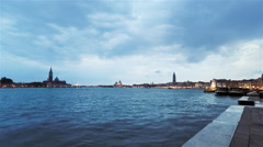 Timelapse Italy Rotation Panoramic Clouds of Venice, Italy at Dusk - stock footage
