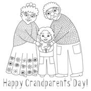 Happy grandparents day card. Poster with grandmother, grandfather and their - stock illustration