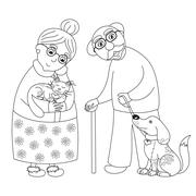 Cute darling grandmother and grandfather, coloring book page for children - stock illustration