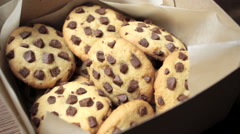 Chocolate Chip Cookies in a Gift Box Stock Footage