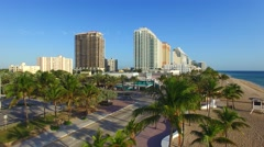 Aerial view of Fort Lauderdale beach and skyline Stock Footage