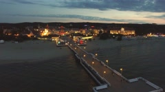 The evening pier in Sopot with a bird's eye view, Poland.03 Stock Footage