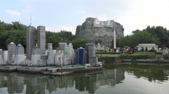 Miniature New York skyline and Mount Rushmore in Shenzhen, China Stock Footage