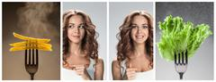 The collage of young beautiful woman with healthy and harmful meal Stock Photos