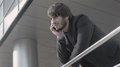 Man with Smart Phone, Young Business Man in Airport. Casual urban Professional Stock Footage