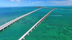 Bahia Honda old and new bridge in Florida Keys, aerial view Stock Footage