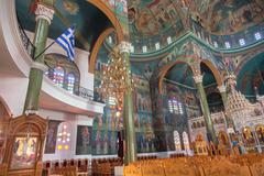 Christian Orthodox church interior - stock photo
