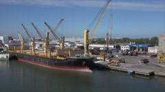 Ship moored at Port of Rio Grande, Brazil Stock Footage