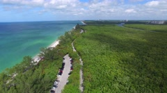 Delnor Wiggins park panoramic aerial view in Naples Stock Footage