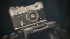 Old retro photo camera 1 Stock Footage