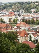 Roofs in Passau city with church tower, architectural scene in Germany - stock photo