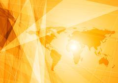 Bright orange world map technology background Stock Illustration