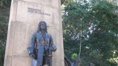 Statue of Jose da Silva Paes, main square, Rio Grande, Brazil Stock Footage