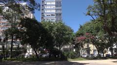 Main square, Praca Xavier Ferreira, Rio Grande, Brazil Stock Footage