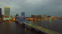 JACKSONVILLE – FEBRUARY 2016: City aerial skyline at dusk. This is a major Stock Footage