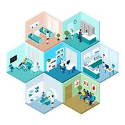 Hospital Hexagonal Tessellated Pattern Isometric Composition - stock illustration