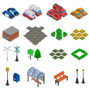 City Infrastructure Elements Set Stock Illustration