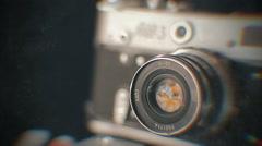 Old retro photo camera 3 Stock Footage