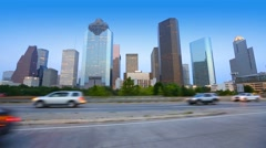 Houston downtown skyline with traffic Texas Stock Footage