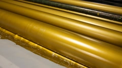 Golden ink printer rollers offset industry - stock footage