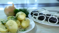 Potatoes with salted mackerel and onions Stock Footage