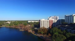 Orlando, Florida. Aerial view of the city from Lake Eola Park Stock Footage