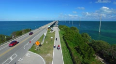 Bridge of Keys Islands on a beautiful day, overhead view Stock Footage