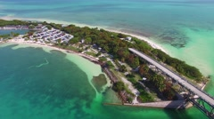 Bahia Honda old bridge, overhead view of Florida Keys on a beautiful day Stock Footage